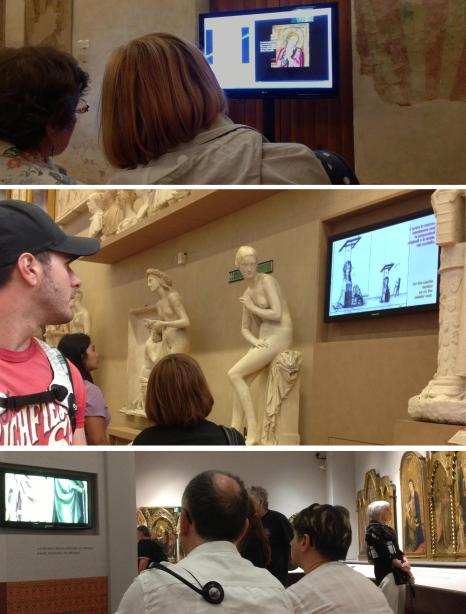 Alli Burness - visitors viewing 'how to' AV in museums