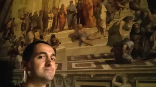Hasan Niyazi with School of Athens, Raphael