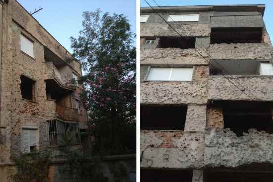 Bullet ridden apartment buildings, Mostar, Bosnia - Alli Burness - 2013