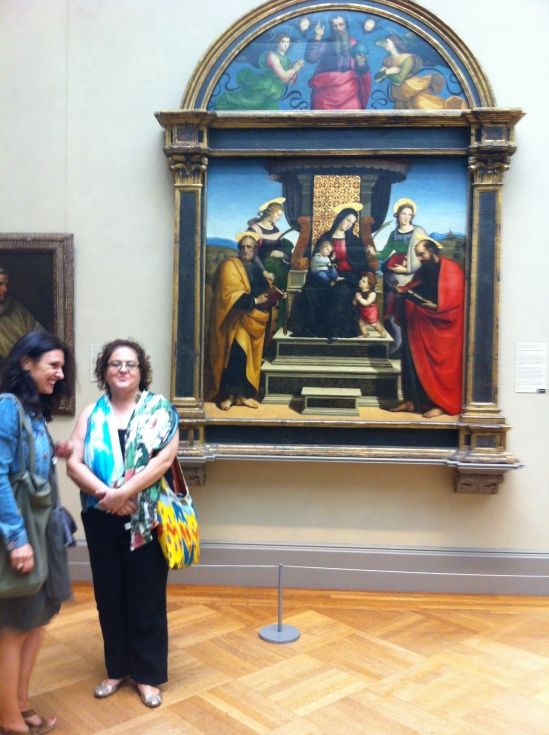Gemma Garcia and Sedef Piker At the Metropolitan Museum, in front of Raphael's Colonna Altarpiece