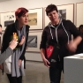 Michelle Mortimer and Irene Rayment inspect Ah Xian's 'China China' with a guide at Museum of Contemporary Art, Sydney