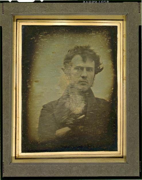 Robert Cornelius, self-portrait; believed to be the earliest extant American portrait photo, 1839, daguerreotype, Library of Congress